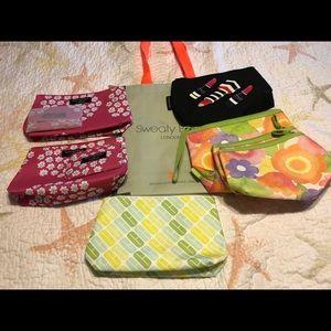 Bundle of makeup bags and small reusable tote bag